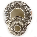 Round Mosaic Mirror with Gray Sun