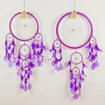 Dreamcatcher round with shell: Purple