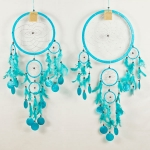 Dreamcatcher round with shell: Turquoise