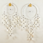 Dreamcatcher round with shell: White