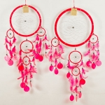 Dreamcatcher round with shell: Red