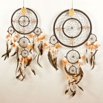 Dreamcatcher with double ring & shells: Black