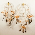 Dreamcatcher with double ring & shells: Cream
