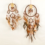 Dreamcatcher with bead & feather: Brown