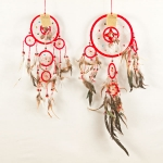 Dreamcatcher with bead & feather: Red