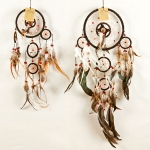 Dreamcatcher with bead & feather: Black