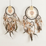 Dreamcatcher with leather & bone: Black