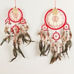 Dreamcatcher with leather & bone: Red