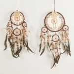Dreamcatcher with leather & bone: Brown