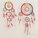 Dreamcatcher bead, bone & shell: Black & red