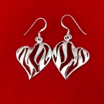 Zebra Stripe Heart Earrings