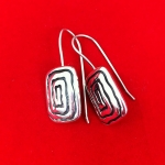 Rectangular Neolithic Swirl Design Earrings