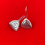Triangular Neolithic Swirl Design Earrings