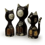 Set of 3 cats with swirly designs