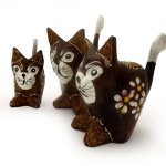 Set of 3 cats with flowers