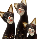 Set of 3 cats with painted detail