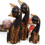 Set of 3 cats with marble-like detail