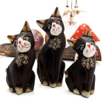 Set of 3 cats with  carved and painted detail