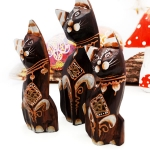 Set of 3 cats with floral details