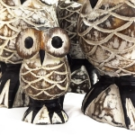 White Carved wooden owl (4 sizes)