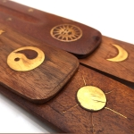 Wooden incense holder with inlaid Sun & Moon