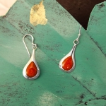 Coral drop hook earrings