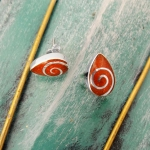 Drop Coral Stud Earrings with Spiral