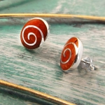 Oval Coral earrings with silver spiral design
