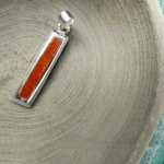 Long Rectangular coral pendant