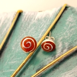 Small Round Coral Stud Earring with spiral
