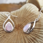 Double Drop Shaped Mother of Pearl Earrings - Pink