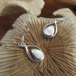 Double Drop Shaped Mother of Pearl Earrings
