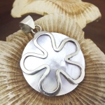 Round Mother of Pear with Silver Abstract flower