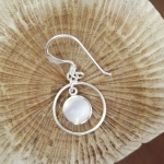 Round Wire Hook Earrings with Mother of Pearl detail