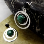 Double circle earrings with Malachite stone