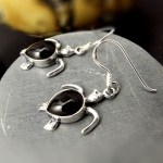 Turtle Silver hook earring with Black Onyx