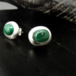 Round Malachite stud earrings