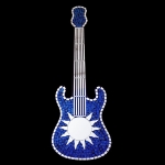 Guitar Shaped Mosaic Mirror with Blue sparkle tiles and sun