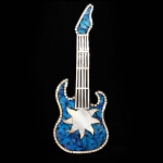 Guitar Shaped Mosaic Mirror with Blue Sparkle with Sun