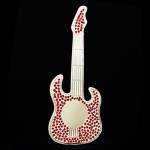 Guitar Shaped Mosaic Mirror with Red tiles