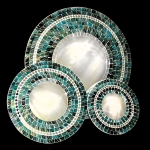 Round Mosaic Mirror with Turquoise and Black Tiles