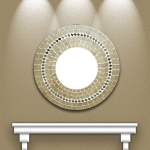 Round Mosaic Mirror with Cream Tiles