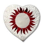 Heart Shaped Mirror with Red Flower