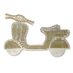 Scooter Shaped Mosaic Wall Piece (Beige & Gold)*