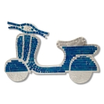 Scooter Shaped Mosaic Wall Piece (Blue)