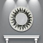 Round Mosaic Mirror with Black and Gray Sun
