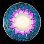 Round Mosaic Mirror with Fuschia Sun and Blue Tile Sun