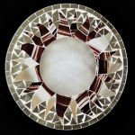 Round Mosaic Mirror with Brown and Beige Sun