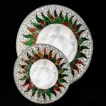 Round Mosaic Mirror with Multicolored Sun