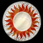 Round Mosaic Mirror with Red and Orange Sun